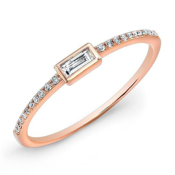 14K Rose Gold Baguette Diamond Stackable Ring
