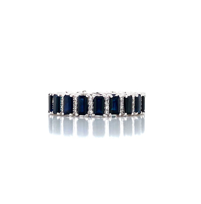 14K White Gold Diamond + Blue Sapphire Eternity Ring