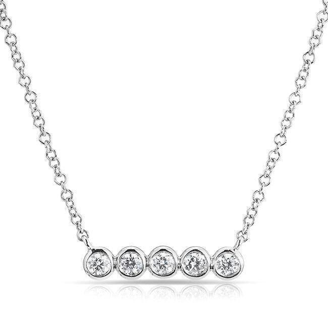 Bezel Set Diamond Short Mini Bar Necklace