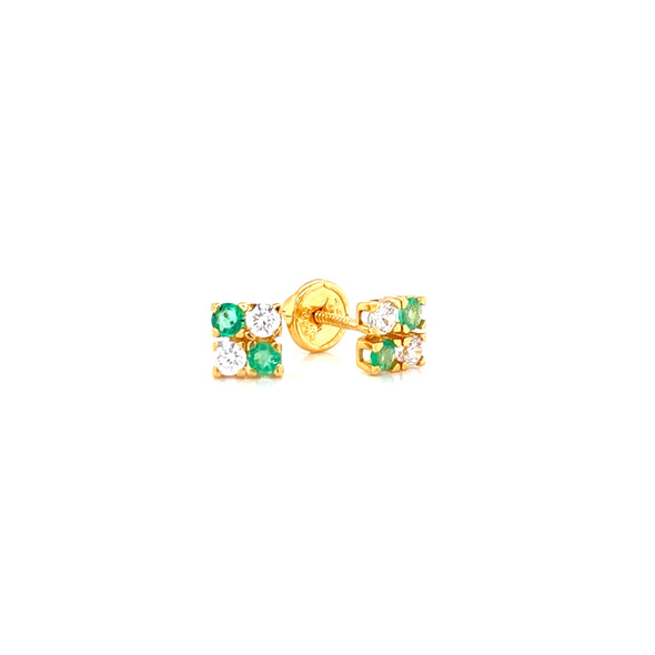 18K Yellow Gold Cubic Zirconia & Emerald Earrings