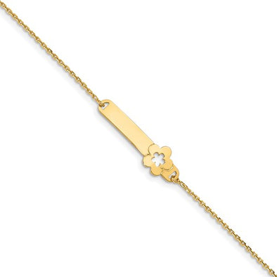 14K Yellow Polished Flower ID Bracelet