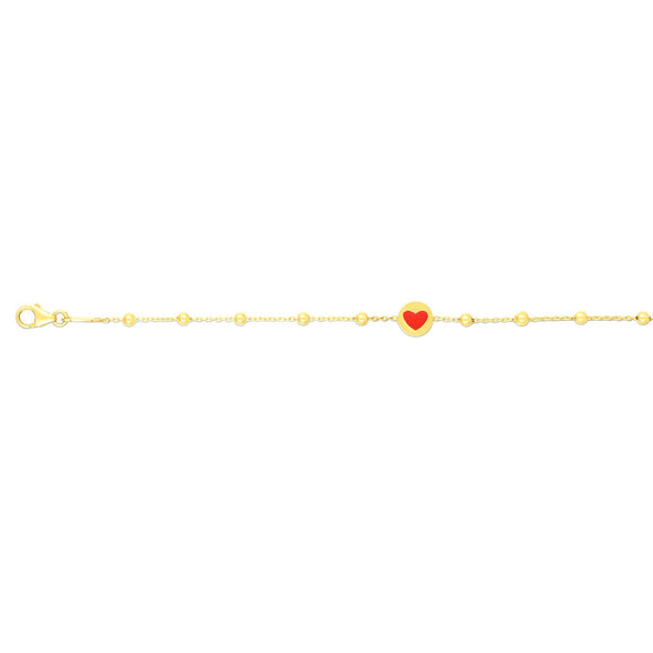 14k Yellow Bead and Red Enamel Heart Bracelet- 6""