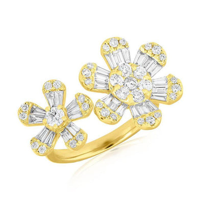 14k Yellow Diamond Baguette Double Flower Ring