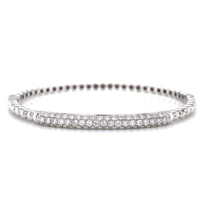 18K White Gold Diamond Bar Beaded Hinged Bangle