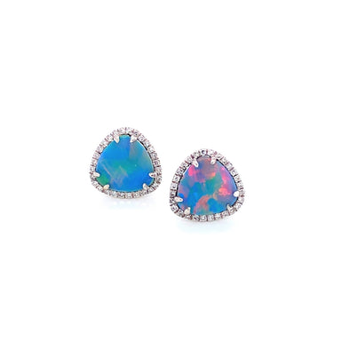 14K White Gold Diamond + Opal Earrings