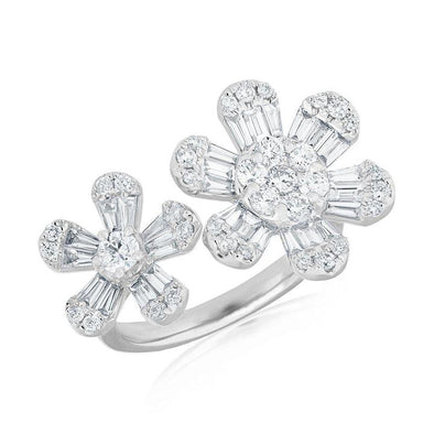14k White Diamond Baguette double Flower Ring