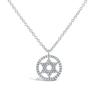 14K White Gold Circle Diamond Star Of David
