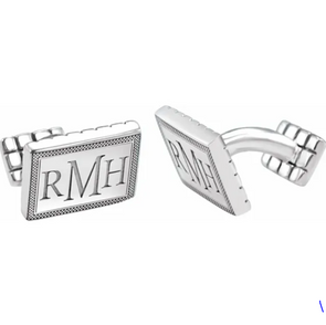 Sterling Silver 3-Letter Serif Monogram Cuff Links