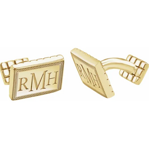 Yellow Gold Plated Sterling Silver 3-Letter Serif Monogram Cuff Links