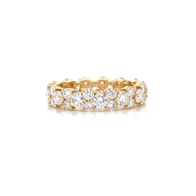 18K Yellow Gold Diamond Cluster Eternity Band