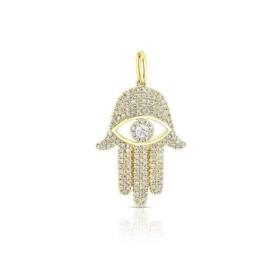 14K Yellow Diamond Evil Eye X-Large Hamsa Pendant