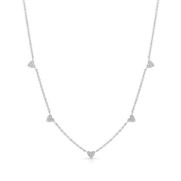 Yellow Gold 14K Dainty Diamond Hearts Necklace