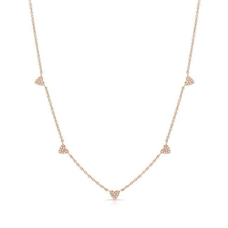 Dainty Diamond Hearts Necklace