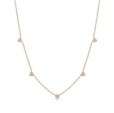 14K Rose Gold Dainty Pave Diamond Hearts Necklace