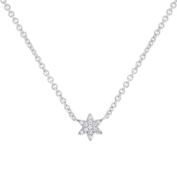 14K White Gold Dainty Diamond Star of David Necklace