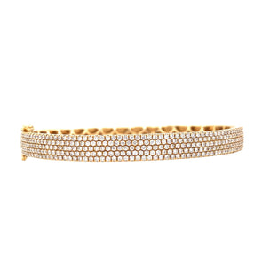 18K Yellow Gold Diamond 5 Row Diamond Hinged Bangle