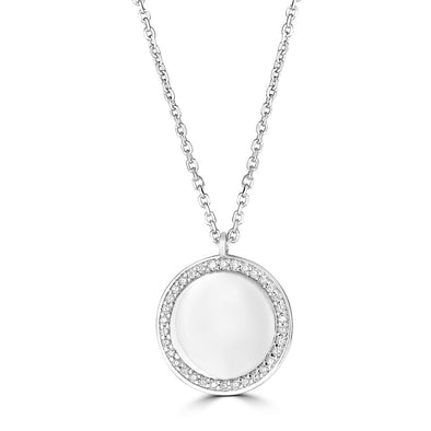 14K White Gold Diamond Round Plate Necklace