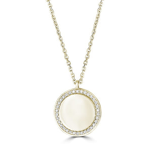 14K Yellow Gold Diamond Round Plate Necklace