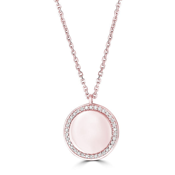 14K Rose Gold Diamond Round Plate Necklace