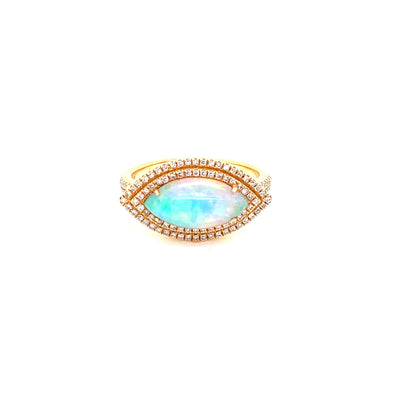 14K Yellow Gold Diamond + Marquise Opal Ring