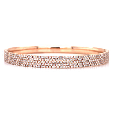 14K Rose Gold Diamond 5 Row Hinged Bangle