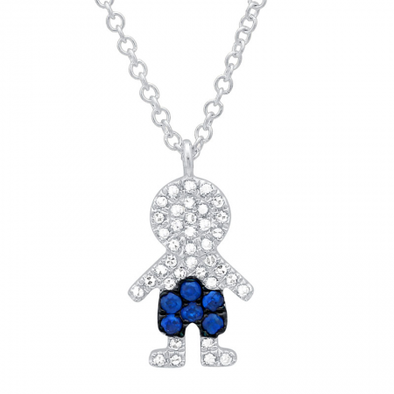 14K White Gold Diamond and Blue Sapphire Boy Necklace