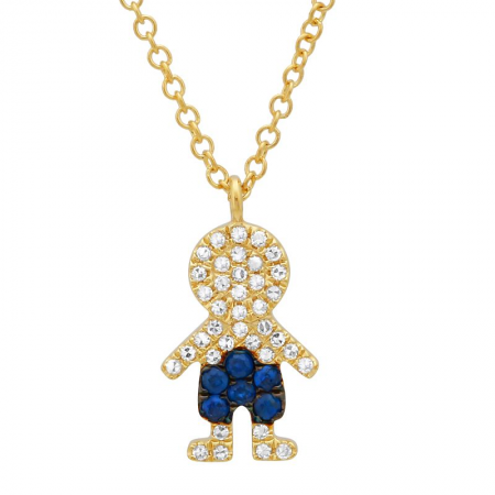 Yellow Gold 14K Diamond and Blue Sapphire Boy Necklace
