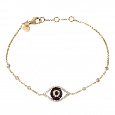 "14K Yellow Gold Diamond and Blue Sapphire ""Evil Eye"" Bracelet"