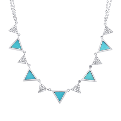 14K White Gold Diamond and Composite Turquoise Triangle Necklace