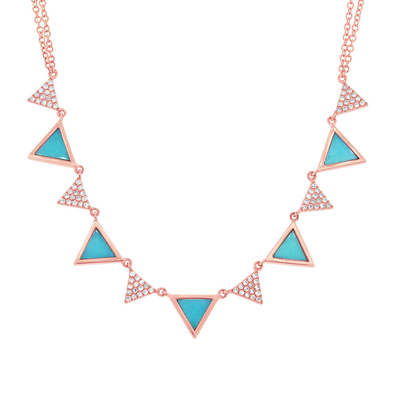 Diamond and Composite Turquoise Triangle Necklace