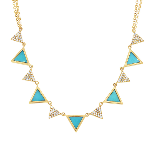 14K Yellow Gold Diamond and Composite Turquoise Triangle Necklace