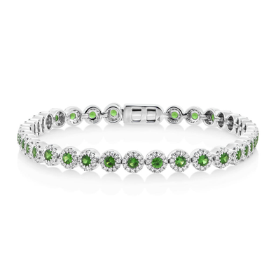 14K White Gold Diamond and Green Garnet Tennis Bracelet