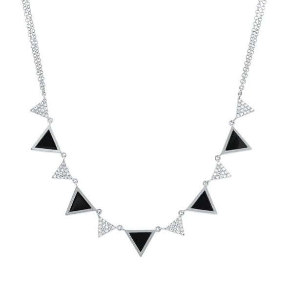 14K White Gold Diamond and Onyx Triangle Necklace