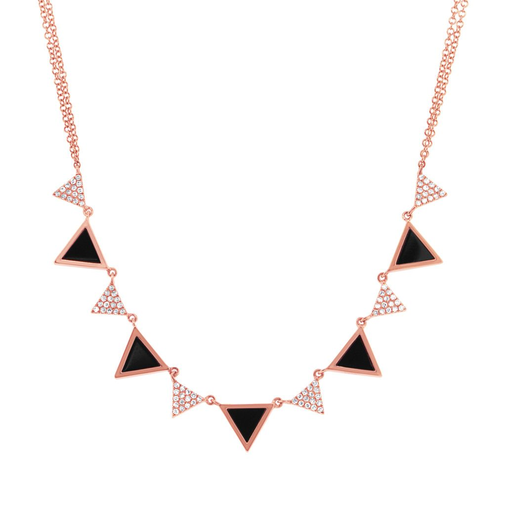 Diamond and Onyx Triangle Necklace