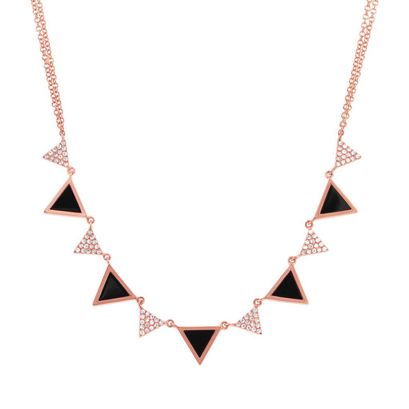 14K Rose Gold Diamond and Onyx Triangle Necklace