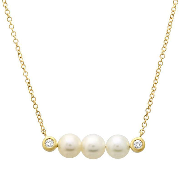 Diamond and Pearl Bar Necklace