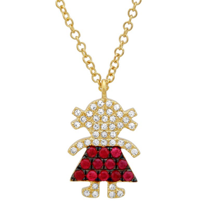 14K Yellow Diamond and Ruby Gemstone Girl Necklace
