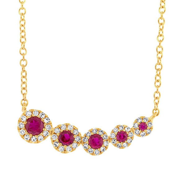 Diamond and Ruby Halo Necklace