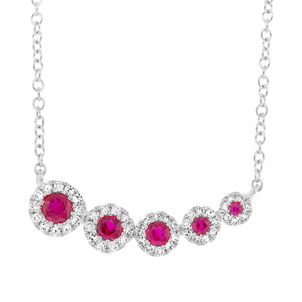 14K Yellow Gold Diamond and Ruby Halo Necklace