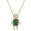 14K Yellow Gold Diamond and Tsavorite Boy Necklace
