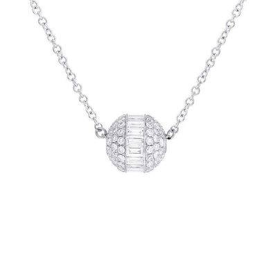14K White Gold Diamond Ball Necklace