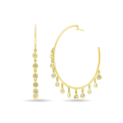 14K Yellow Gold Diamond Bezel Dangle Hoop Earrings