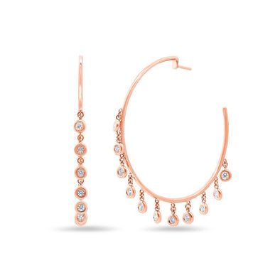 Rose Gold 14K Diamond Bezel Dangle Hoop Earrings