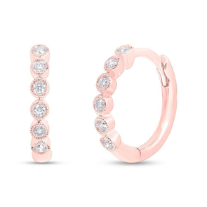 14K Rose Gold Diamond Bezel Huggie Earrings