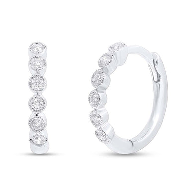 Diamond Bezel Huggie Earrings