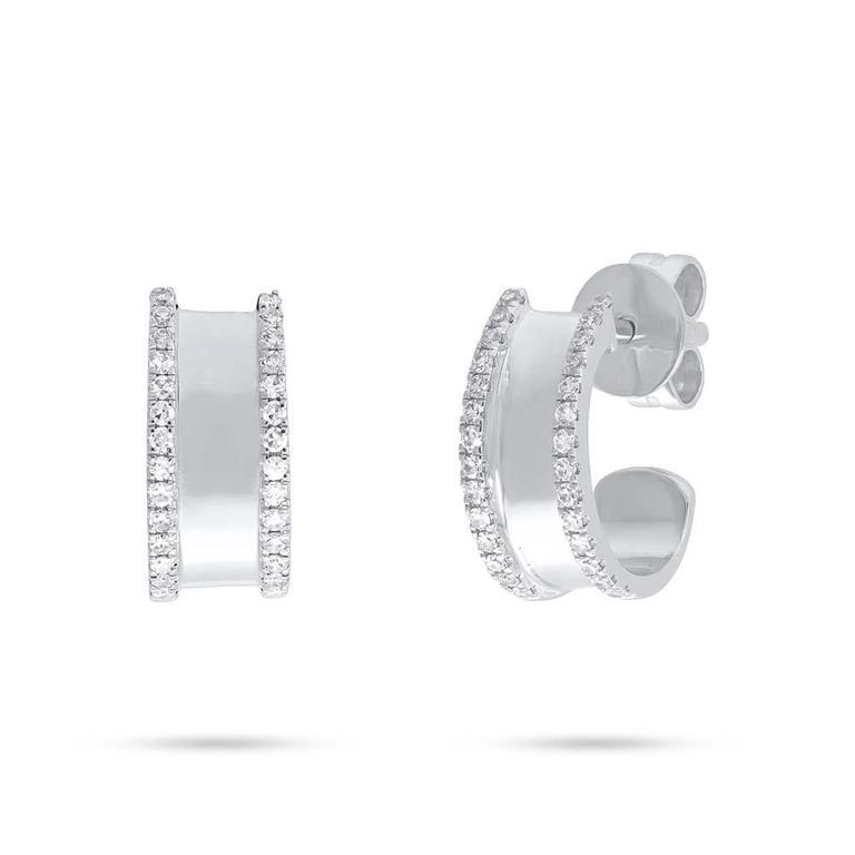 Diamond Border Polished Huggie Earring