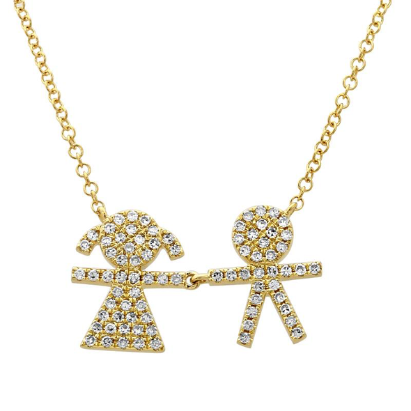 14K Yellow Diamond Boy & Girl Necklace