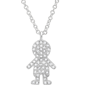 14K White Gold Diamond Boy Necklace