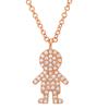 14K Rose Gold Diamond Boy Pendant