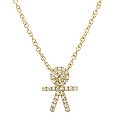 14K Yellow Diamond Boy Stick Figure Necklace